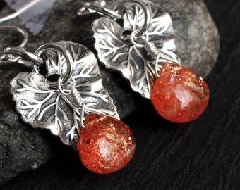 Sunstone Earrings - Sterling Silver Earrings - Sunstone Jewelry - Leaf Earrings - Orange - Natural - Handmade