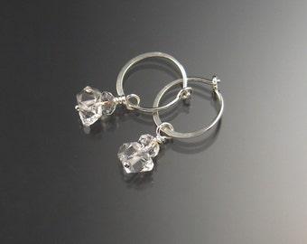 Natural Quartz Crystal Birthstone Hoop Earrings April birthstone white crystal Hoops in Sterling silver