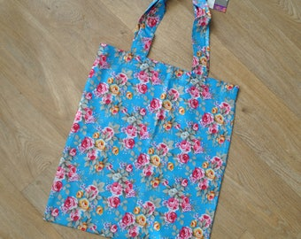 Tote bag with floral fabric Shabby chic blue, pink, yellow and green