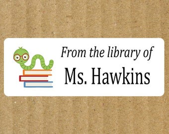 Bookworm Book Labels, 90 Labels, Bookworm, Teacher Labels, Book Labels, Teacher Book Labels, Reading Bookworm Book Labels, Teacher, Library