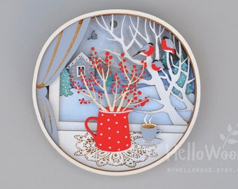 CHRISTMAS Decoration Red Berries Bullfinch Wall Hanging Wreath