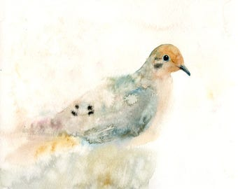 Mourning dove Original watercolor painting 10x8inch