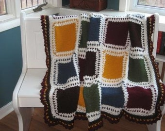 Knit and Crochet Afghan in Earth Tone block design   Ready to Ship
