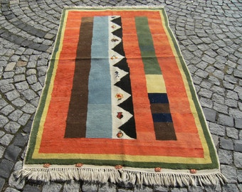 Vegetable  Dye  Color   Turkish   Anatolian  Kabeh   Carpet  Rug   51,1''  X  81,8''  inches
