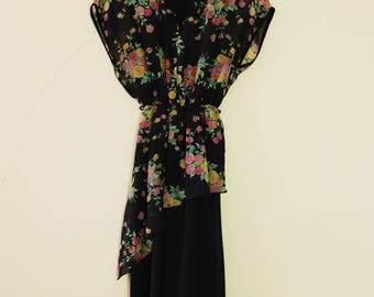 Vintage + 80s Black and Rainbow Floral Dress Cute Summer with d