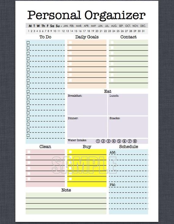 Mini Personal Organizer Half Letter Size Editable daily