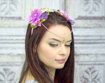 Pink Floral Crown Diadem, Woodland Circlet, Flower Crown, Fairy Headpiece, Elven Headdress, Costume Headpiece, Purple Flowercrown, Headband