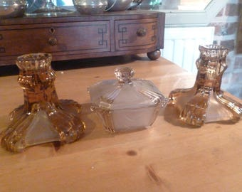 Gorgeous 1920's/30's Glass Dressing Table Set