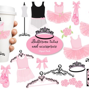 Ballerina clipart, Ballet clipart, ballerina tutus, Pink Ballet Costumes, for invites and scrapbooking, commercial use, AMB-1308