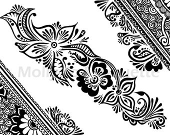 Mehndi Flowers Ink Drawing