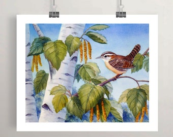 Wren bird print birch tree art watercolor wall decor by Janet Zeh Original Art