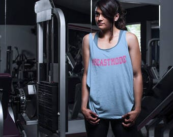 Workout Tank Womens Fitness Terry Tank Top - #Beastmode - ** More Colors Available ** (p)
