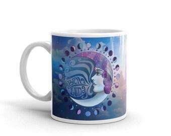 Moon Goddess Mug / Bella Luna Illustration / Moon Phase Cup / Lunar Teacup / Gypsy Boho Chic Coffee Cup / Bohemian Stoneware Drinking Glass