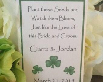 50 Custom Irish Shamrock St Patricks Day Personalized  Wedding Seed Packets Shamrock Favors St Patricks Day Favors, irish favors