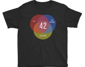 Hitchhikers Guide To The Galaxy Shirt, Youth Unisex T Shirt, Venn Diagram Shirt, Nerdy Geek Gift, Science Fiction Tee For Kids, Cult Classic