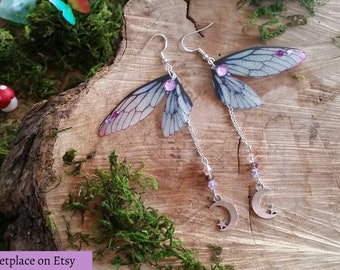 Magical Blue, Purple and Mauve Fairy wing earrings