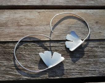 Hoop Earrings Sterling Silver Ginkgo Leaves Design, Nature, Spring, Boho, Hand made