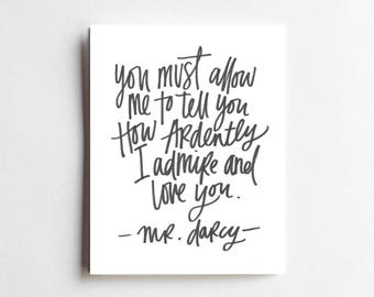 Darcy Quote - ART PRINT - Free Shipping!