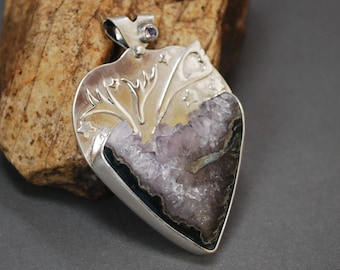Silver and Amethyst Heart Pendant, Amethyst Pendant with Crystal Druzy  J-2225