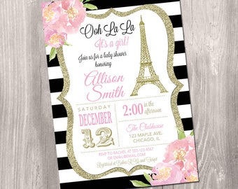 Paris baby shower invitation french theme oh la la its paris baby shower invitation eiffel tower baby shower invitation girl baby shower invitation french baby shower printable invitation filmwisefo