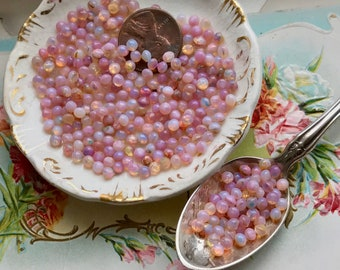20 Vintage Harlequin stones, 3mm harlequin, Glass Fire Opal stones, pink opal Stones, Shabby chic, Cottage chic stones, Pink Stones, #B157