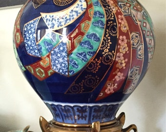 Exquisite Vintage Marbro Lamp Hand Painted Porcelain Ginger Jar Urn Lamp Cobalt Blue with Hand Painted Ribbon Gold Asian Style Stand