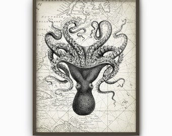 Octopus Vintage Marine Wall Art Poster - Marine Home Decor - Antique Octopus Illustration Art Print (B218)