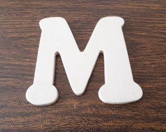 """Wood letter M, unfinished, 4 1/4"""", to paint and decorate for wood crafts, wood shapes, wood cutouts, wood pieces"""