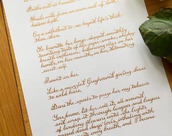Pretty handwritten calligraphy letter or poem girlfriend