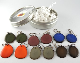 Autumn Colors 6 Pair Compact Travel Pack Tagua Nut Eco Friendly Earrings with Free USA Shipping #taguanut #ecofriendlyjewelry