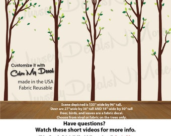 Decals for Boys Nursery, Tree Decals, Nature Tree Wall Decals (Green No Deer T:BrVin 15_10_9) Nature_Trees