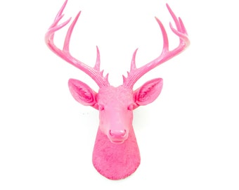 Large Deer Head Sculpture – By Near and Deer Faux Taxidermy - Hot Pink Stag Wall Mount – Unique Modern Home Decorating accent – ND1616