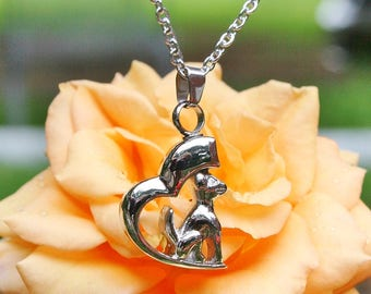 Dog on Heart Pet Cremation Jewelry for Ashes Urn Necklace Ash Pendant Puppy Memorial Gift Stainless Steel Chain Loss Small Mens Kids Ladies