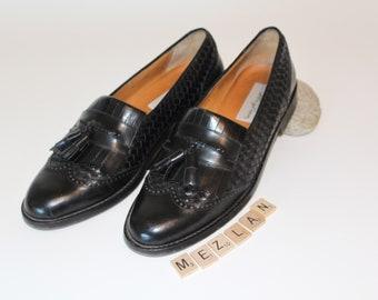 Vintage MEZLAN Loafers *Woven Leather Dress Shoes *Tasseled Slip On Shoes *Made In Spain Wingtips -Men's 10