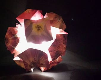 Paper Flower Ball Sculpture - Paper Lamp - LED Lighting Battery Operated - Large Kusudama Ball Origami Art - Floral Home Decor Wedding Decor
