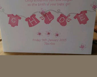Luxury Baby Girl Card/Announcement/Congratulations.