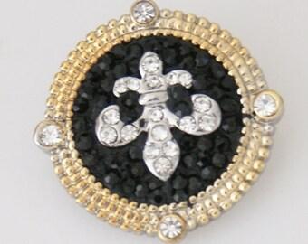 1 PC 18MM Fleur De Lis Black Rhinestone Silver Gold Snap Candy Charm kb5155 CC0030