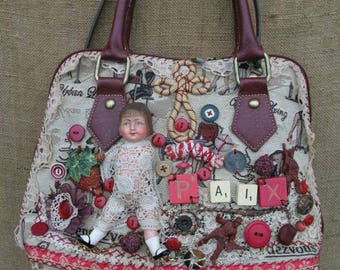 Uniquely lacey upcycled handbag purse with vintage dolls,buttons and jewellery in reds and cream