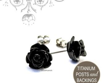 Black Rose Titanium Post Earrings, Flower Studs, Bohemian, Mini Gothic Rose Earrings