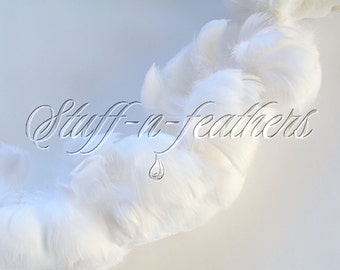 WHITE goose coquille feathers, small curled feathers strung, Wholesale / bulk real feathers for wedding, millinery, 1 ft (30.5cm) / FB57