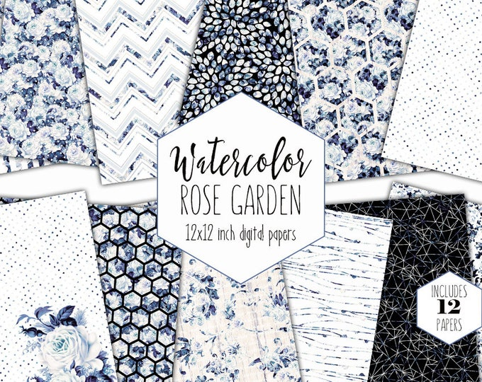 BLUE FLORAL WEDDING Digital Paper Pack Commercial Use Porcelain Blue White Backgrounds Navy Watercolor Flower Scrapbook Shabby Chic Patterns