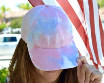 Old Glory - Red, White, and Blue Tie-Dye Baseball Cap