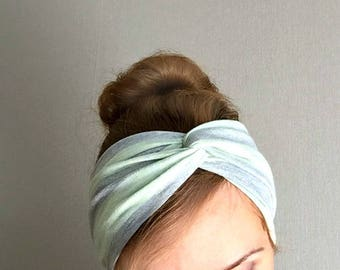 Silver gray twist headband Jersey turban turband striped shiny head wrap everyday ear warmer gift for her stirnband pastel green