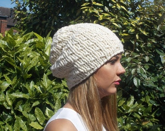Hat Women Chunky Knit, Soft Hat, Slouchy, Cream, Off White, Beanie, Teens, Hand Knitting, Hat,  Accessories, Teen, On Trend, Gift for Her,