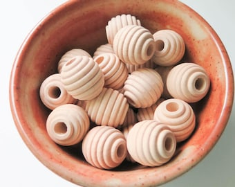 1 inch Wooden Beehive Beads | 25 pcs.  Unfinished Natural Wood Bead, 1 inch beads for Jewelry Making, Kids Crafts