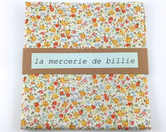 Cut of fabric 50 x 50 cm cotton flowers, yellow, pink, orange