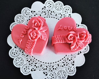 2 heart Soaps - wedding favor soaps - wedding decor - valentine gift - homemade glycerin soap - soap gift for her - heart guest soap