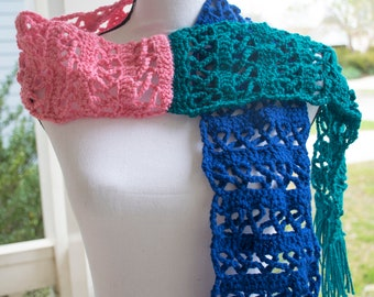 Cancer Awareness Ribbon Crochet Scarf (Three Color)