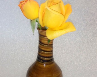 Amber Wheel Thrown Pottery Bud Vase with a Spiral