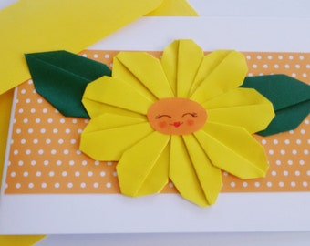 Sunflower Card, Paper Flower, 3D Card, Card girlfriend, Happy Birthday card, Origami Flower, Mother, Pop up cards, Romantic card